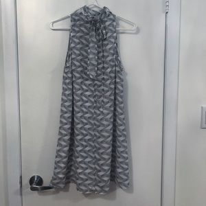 BB Dakota white and grey patterned shift dress